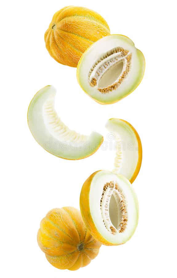 Collection of melon slices isolated on a white background royalty free stock image