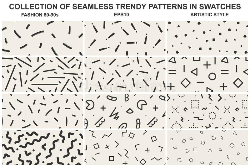 Collection Of Swatches Memphis Patterns - Seamless  Fashion 80-90s