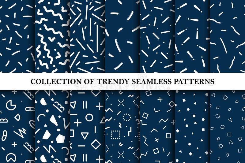 Collection Of Seamless Memphis Patterns, Cards  Mosaic Black And