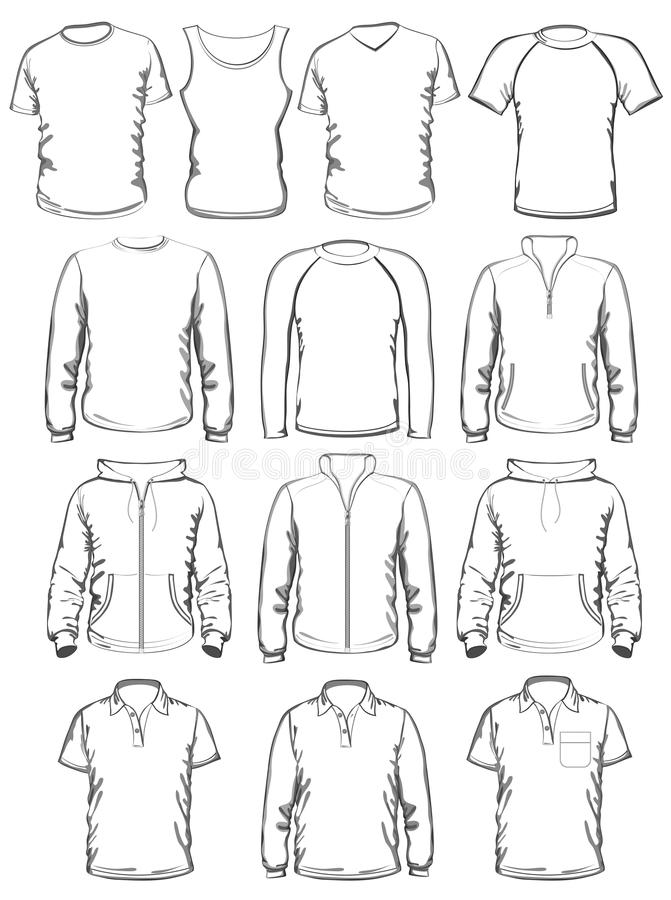 Collection Of Men Clothes Outline Templates Stock Vector ...