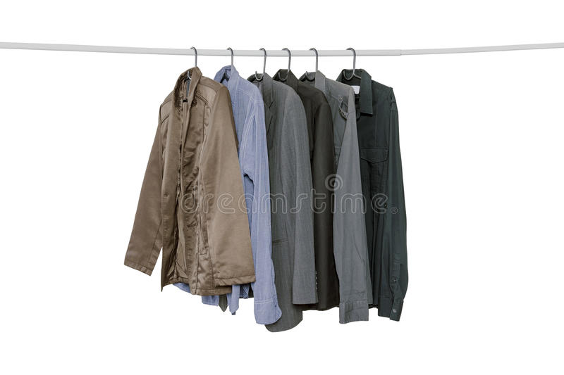 Collection of men`s long sleeve shirts royalty free stock photo