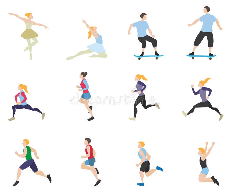 Collection of men and women with different activities vector illustration