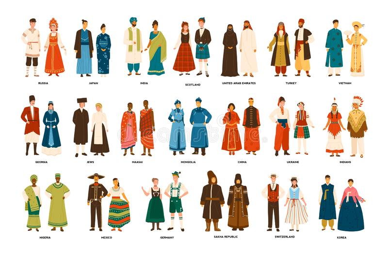 Collection of men and women dressed in folk costumes of various countries isolated on white background. Set of people. Wearing ethnic clothing. Colorful vector royalty free illustration