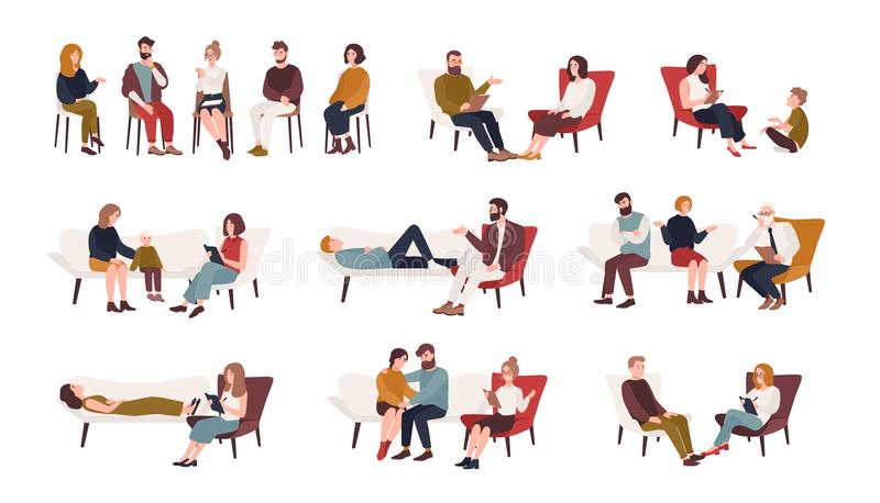 Collection of men and women or married couples sitting on chairs or lying on sofa and talking to psychotherapist or stock illustration