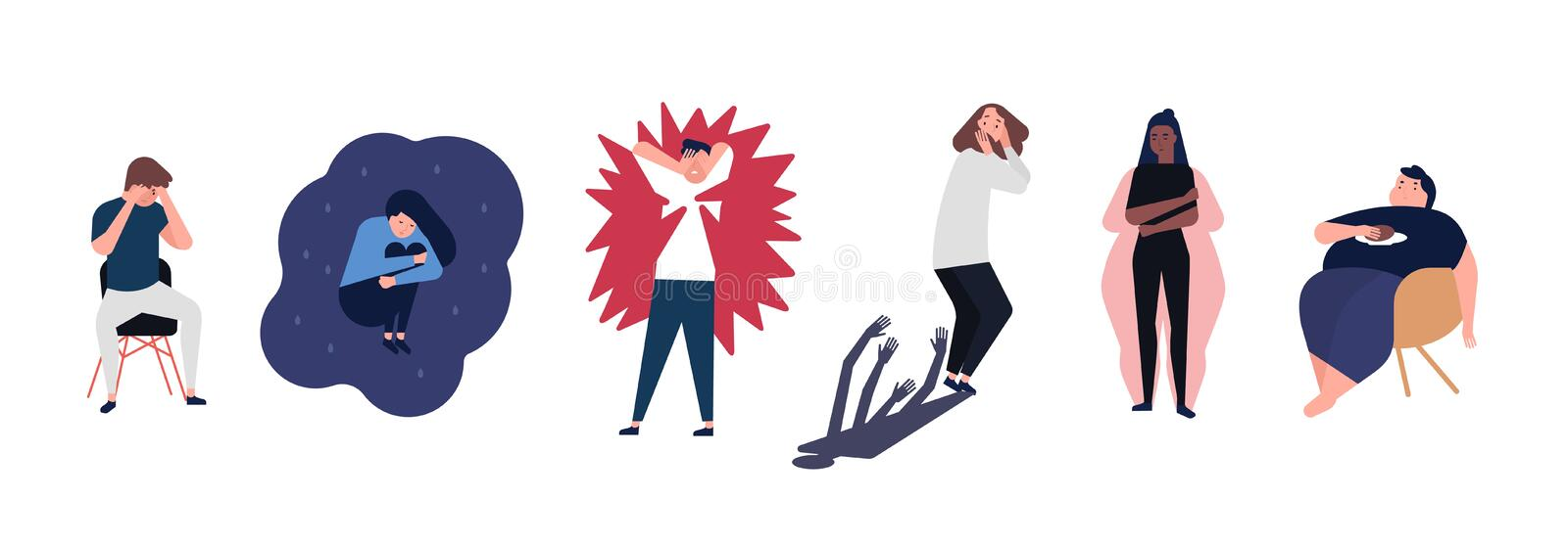 Collection of men and women with mental disorders, illnesses, impairments, psychiatric or psychological problems. Flat stock illustration