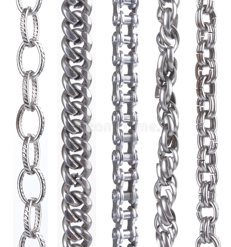 Collection of metal chain parts on white