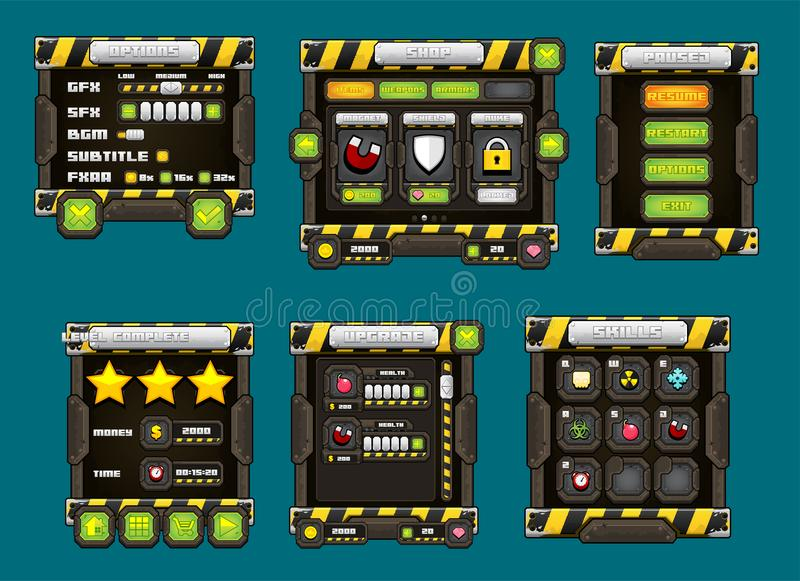 Sci-fi Robot Game Button Set Stock Vector - Illustration of