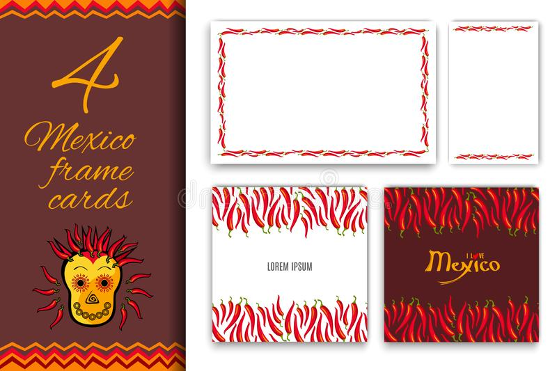 Collection for Mexico Red hot chili peppers frame border with your text place. Abstract Cinco de Mayo background for your greeting cards design or poster royalty free illustration