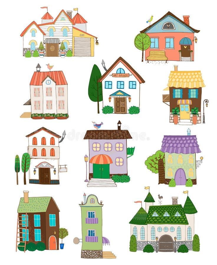 Collection mignonne assortie de maisons illustration stock