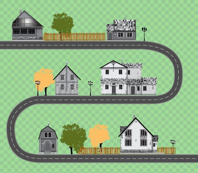 Collection mignonne assortie de maisons sur le fond transparent Route illustration libre de droits