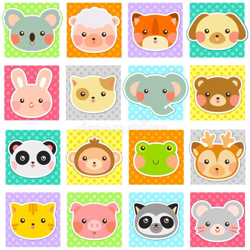 Collection mignonne d'animaux illustration stock