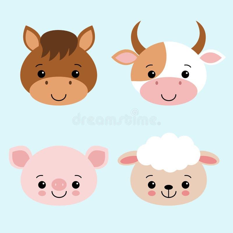 Collection mignonne d'animaux de ferme réglée avec l'illustration de vecteur de bande dessinée de porc de moutons de cheval de va illustration libre de droits