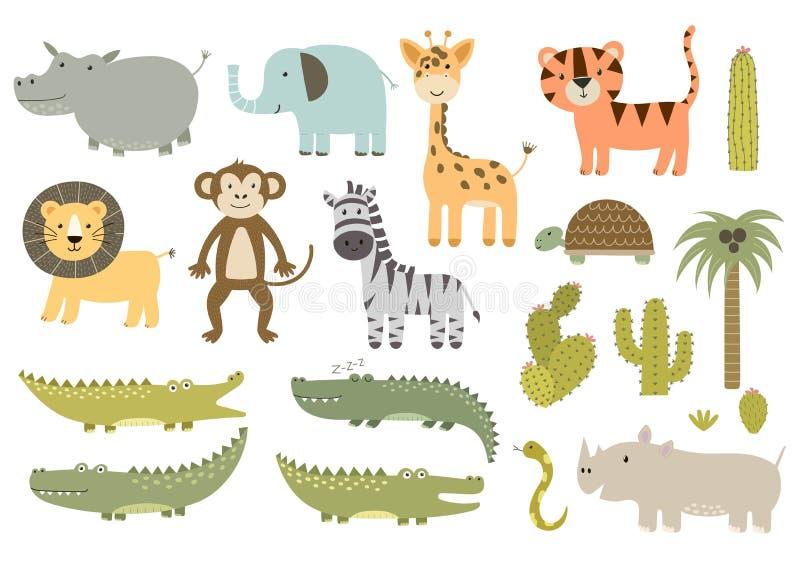 Collection mignonne d'animaux de safari illustration libre de droits