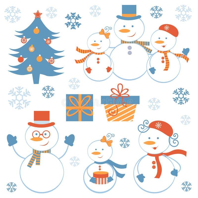 Collection mignonne de bonhommes de neige illustration de vecteur