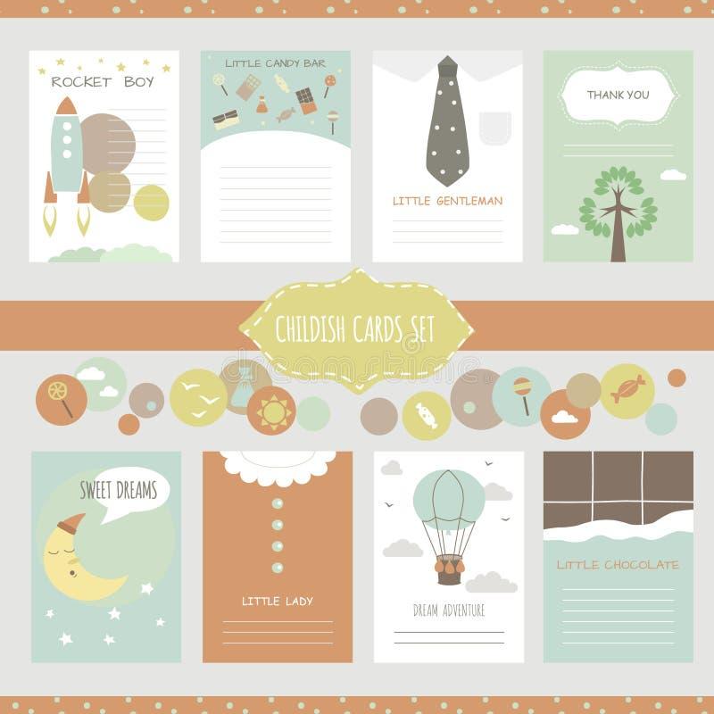 Collection mignonne de cartes de vecteur illustration stock