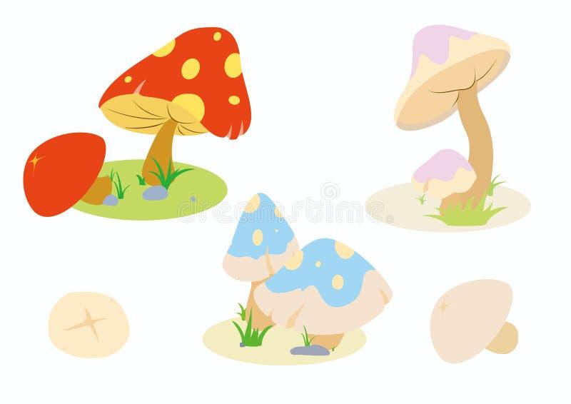 Collection mignonne de champignon image libre de droits