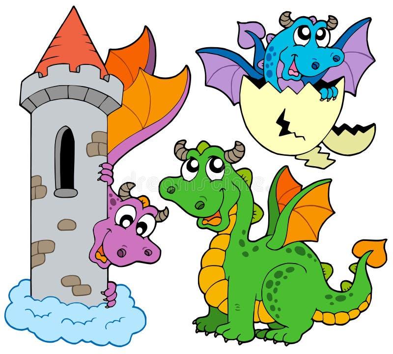 Collection mignonne de dragons illustration de vecteur