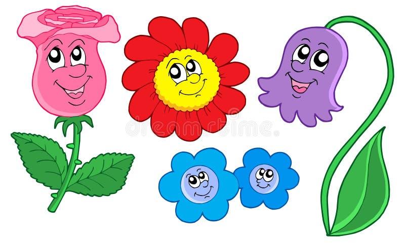Collection mignonne de fleurs illustration stock