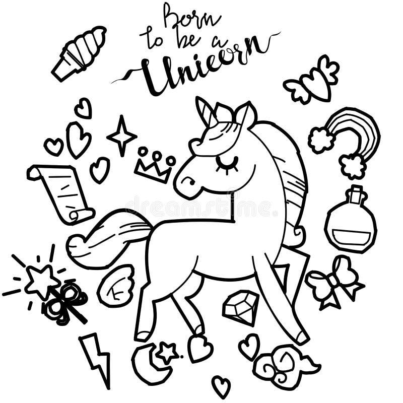Collection mignonne de licorne et de poney avec les articles magiques, arc-en-ciel, ailes féeriques, cristaux, nuages, breuvage m illustration libre de droits