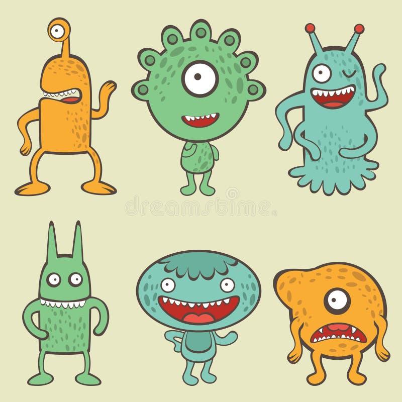 Collection mignonne de monstres illustration libre de droits