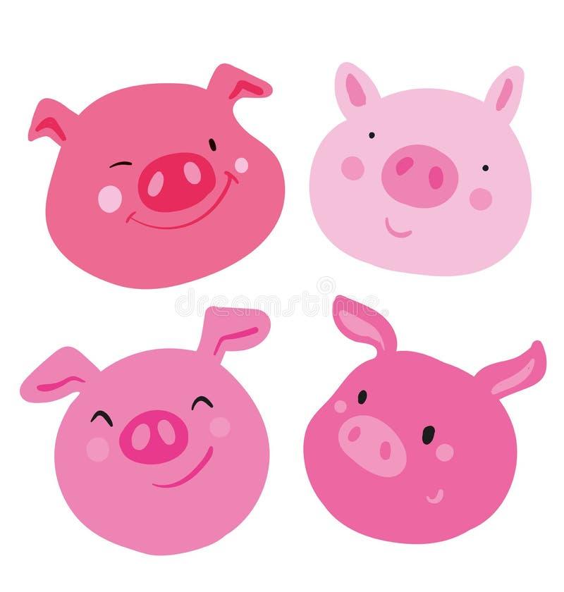 Collection mignonne de porc rose de quatre visages Différentes émotions sur chaque museau, utilisé comme autocollant et emoji Emp illustration libre de droits