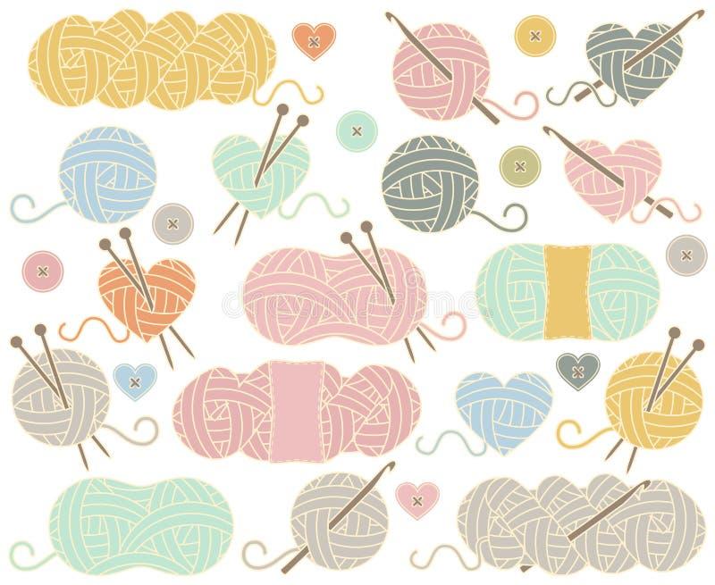 Collection mignonne de vecteur de boules de fil, d'écheveaux de fil ou de fil illustration stock