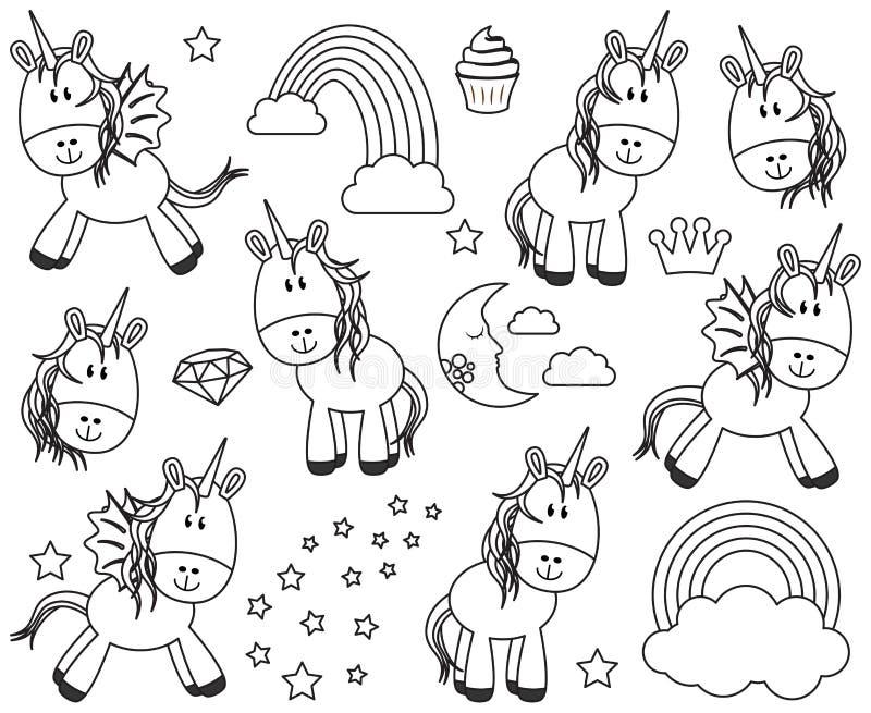Collection mignonne de vecteur de licornes ou de chevaux illustration de vecteur