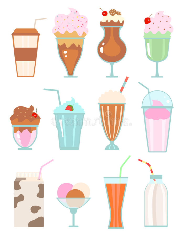 Collection of milkshakes with berries, milk beverages, ice cream. On white. vector stock illustration