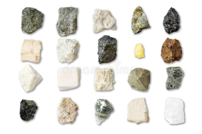 Collection of minerals stock photography