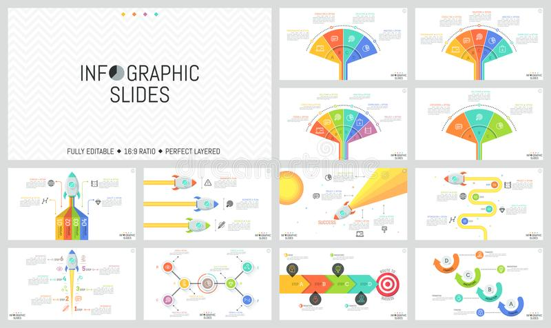 Collection of minimal infographic design templates. Workflow and fan charts, diagrams with flying space rockets and stock illustration