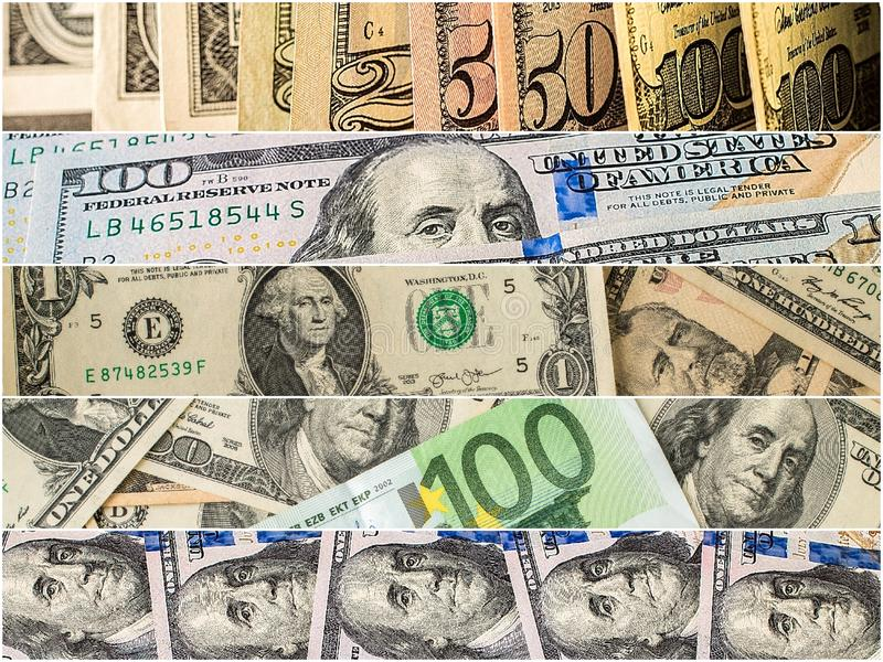 Collection of mixed paper money, dollar and euro. Background money collection stock photos