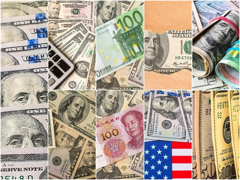 Collection of mixed paper money, dollar and euro. Background money collection stock images