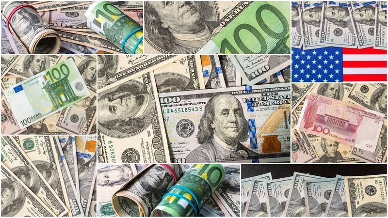 Collection of mixed paper money, dollar and euro. Background money collection royalty free stock image