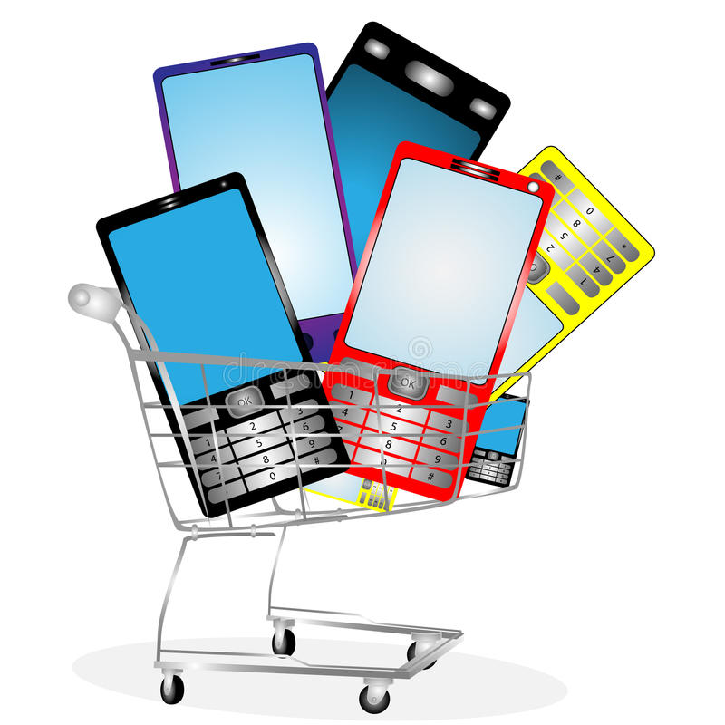 Collection of mobile phones. On white background in the card vector illustration