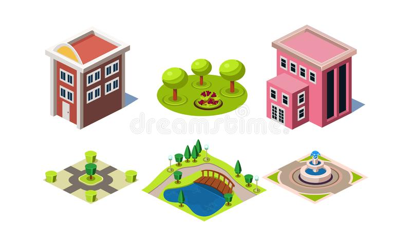 Set of modern buildings and park elements square with trees and fountain . Isometric vector icons royalty free illustration