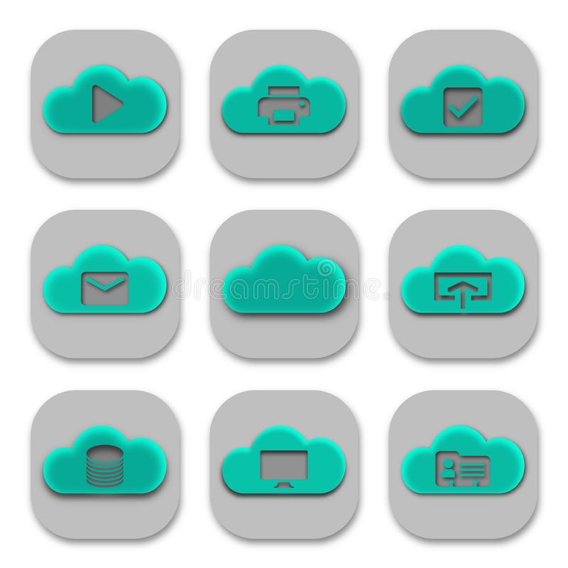 Collection of Modern Cloud App Icons and Logos stock illustration