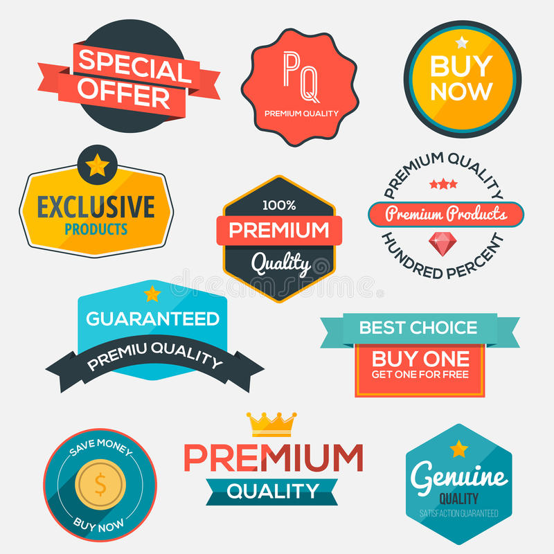 Collection of modern, flat design-styled labels and design elements royalty free illustration
