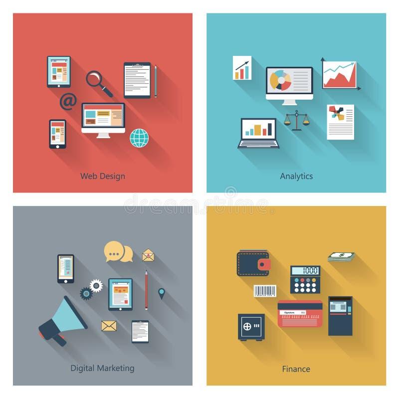 Collection moderne de concepts dans la conception plate illustration libre de droits