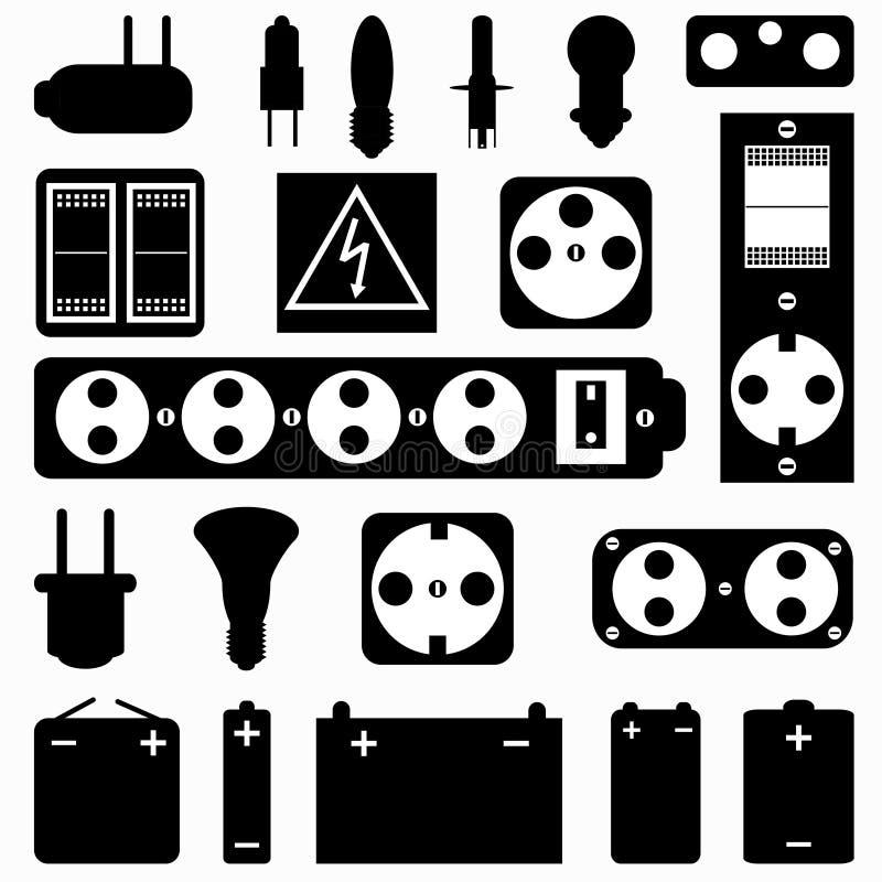 Collection monochrome de matériel électrique de symboles illustration stock
