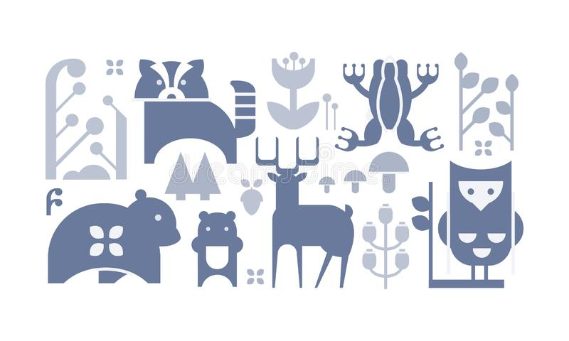 Flat vector set of monochrome forest icons. Cute cartoon animals and plants. Decorative elements for book or postcard royalty free illustration