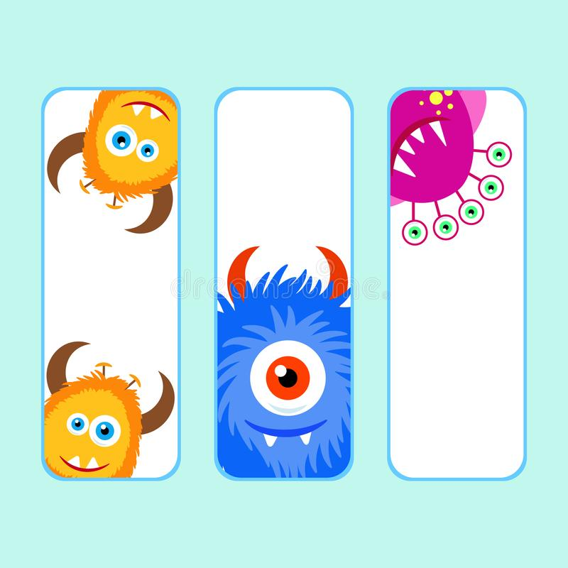Collection monsters party banner cartoon style. stock illustration