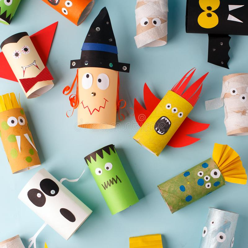 Collection of Monsters from toilet tube for halloween decor. A terrible craft. School and kindergarten. Handcraft creative idea, royalty free stock images