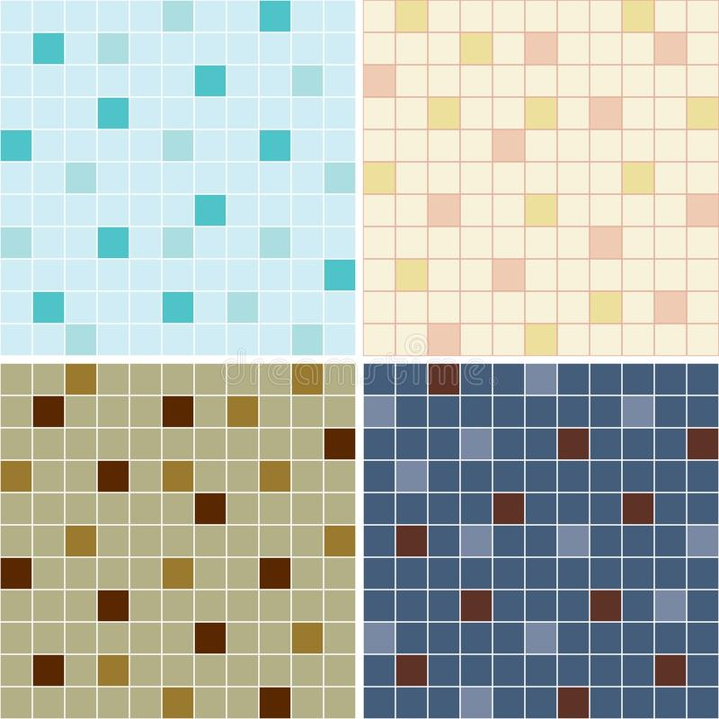 Collection of mosaic tile seamless patterns stock illustration