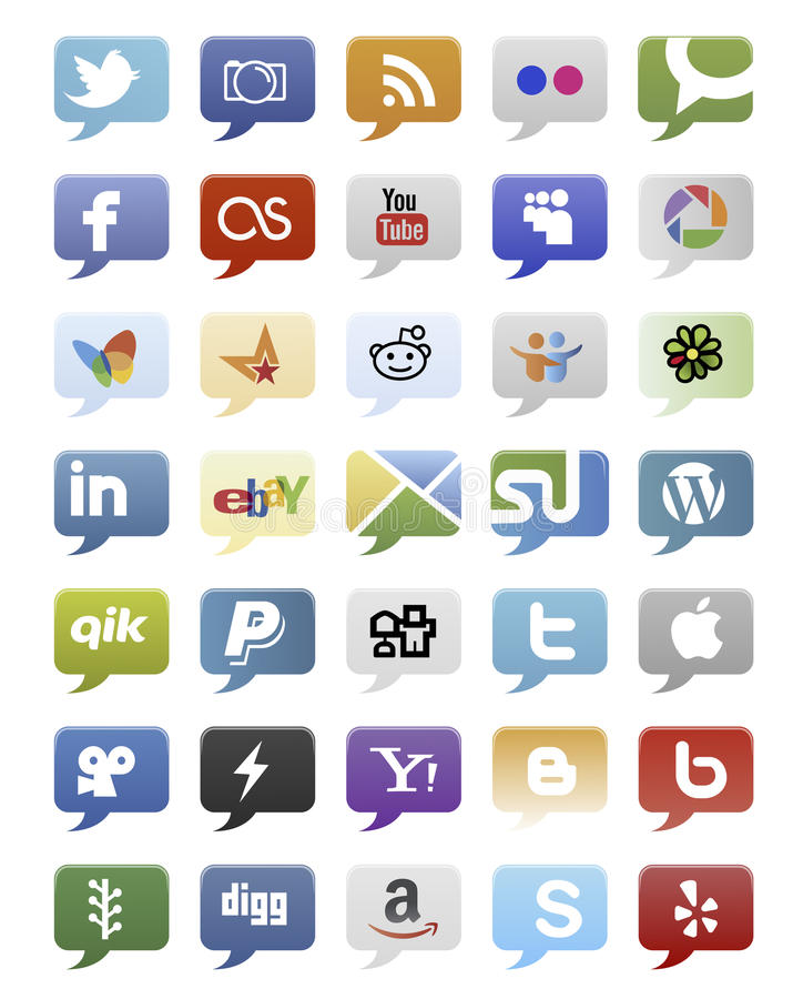 Download Social Media Buttons editorial stock image. Image of digg - 29700284