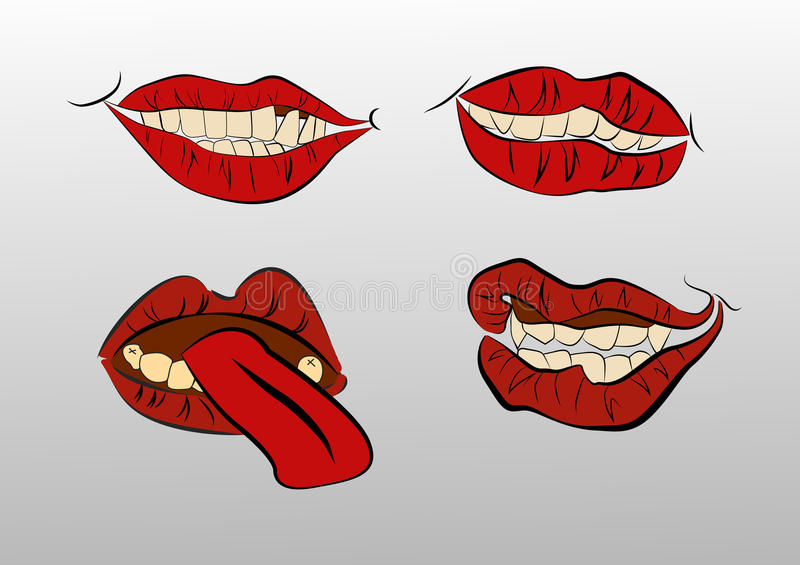 Collection mouths with lips. stock illustration