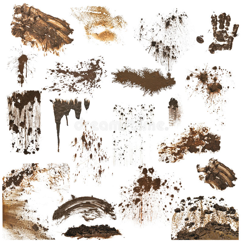 Collection of mud splatters royalty free stock photography