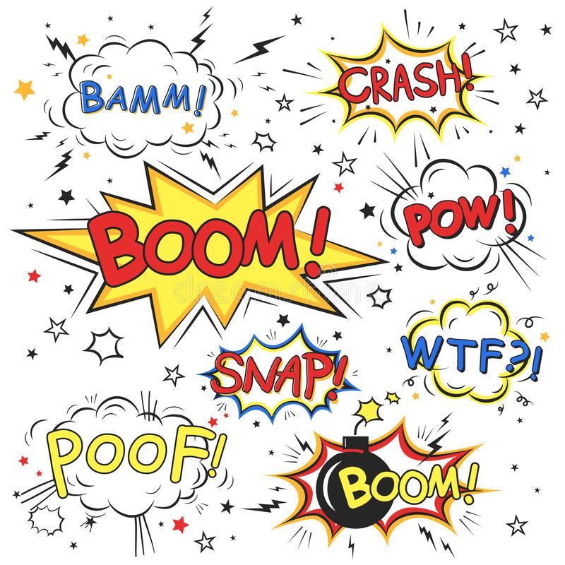 Collection of multicolored comic sound effects stock illustration