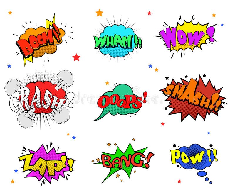 Collection of multicolored comic sound Effects for you design vector illustration