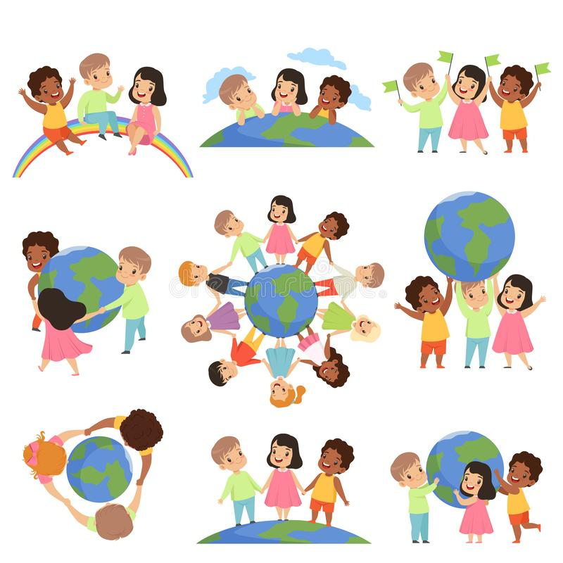 Collection of multicultural little kids holding Earth globe together, friendship, unity concept vector Illustration. Isolated on a white background royalty free illustration