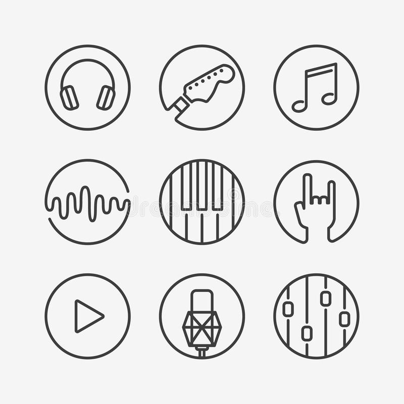 Collection of music or recording studio icons stock illustration